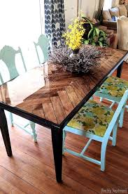 wooden herringbone table with tapered