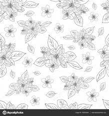 アップル花桜手描きホワイト バック グラウンドシームレス花柄