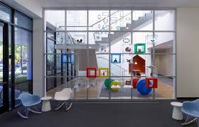 google office headquarters. many of the furnishings are themed around colours google logo office headquarters