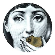 Fornasetti Gold Tema E Variazioni Plate, Number 360, the iconic image of  Lina Cavalieri | Chairish