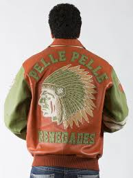 orange green leather jacket with multiple studs pelle pelle renegades
