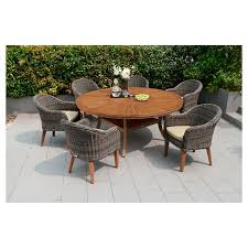 Wood Patio Dining Set Modern Guam 71 Round Table Target With 19