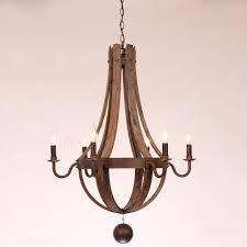rustic candle chandelier rustic wine barrel stave reclaimed wood rust metal