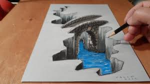 easy 3d paintings on paper easy 3d painting illusion on paper with watercolor 3d drawing bridge