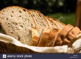 Homemade Freshly Baked Bread Slices In Wicker Bowl Stock Photo