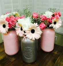 Baby Shower Centerpieces Centerpieces For My Pink And Gray Baby Shower Mason Jar