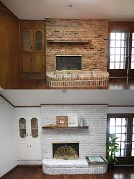before and after pictures of a whitewash brick fireplace