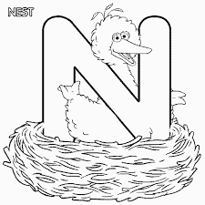 Small Picture Sesame Street Bigbird nest coloring page
