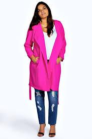 hot pink coats boohoo gwen wrap front trench coat