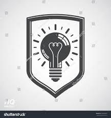 Light Bulb Shield Protection Shield Electricity Light Bulb Symbol Stock Vector