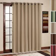 pretty beige fabric sliding curtain hang on bronze curtain bar as inspiring modern patio door window treatments for front areas contemporary interior home