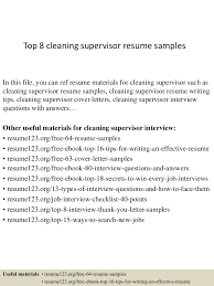 Top8cleaningsupervisorresumesamples 150402095544 Conversion Gate01 Thumbnail 4 Jpg Cb 1427968559