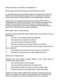calam atilde copy o sartre essay excellent and powerful help for students sartre essay excellent and powerful help for students to write