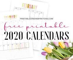 Free 2020 Monthly Calendar Template Free 2020 Calendar Printable Planner Pdf Printables And