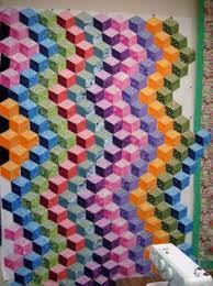 48 best 3D Quilts/Designs images on Pinterest | Quilt design ... & Tumbling Blocks quilt, design wall photo Adamdwight.com