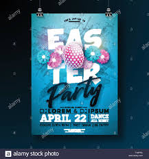 Vector Easter Party Flyer Illustration With Painted Eggs And