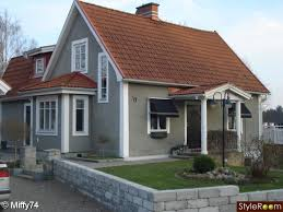 exterior color schemes with red roof. house color - grey body, white trim, red roof exterior schemes with
