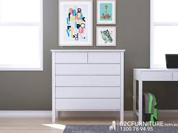 Left View Of White Chest Of Drawers Tallboy Hardwood Modern Solid Timber  Bedroom Furniture Melbourne
