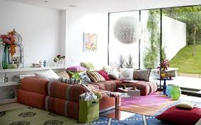 colorful living room furniture sets. Attractive Colorful Contemporary Living Room Funiture Sofa Set Combined With Artistic Globe Pendant Lamp And Large Glass Wall Create Cozy Furniture Sets