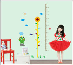 New Cartoon Kids Daisy Frog Growth Chart Height Measure For Home Kids Rooms Diy Decoration Wall Stickers Art Wall Mirror Sticker White Tree Wall