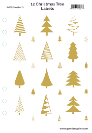 Christmas Tree Labels 12 Gold Foil Christmas Trees On Clear Essential Oil Labels