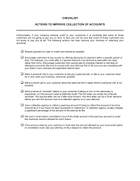 Delinquent Account Letter Template Checklist Action To Improve Collection Of Accounts Template