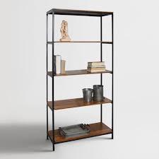 Image Stainless Steel Wood And Metal Williard Tall Bookshelf World Market Wood And Metal Williard Tall Bookshelf World Market