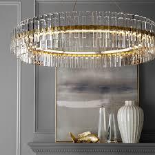 phoebe 48 round crystal chandelier antique brass williams sonoma