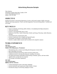 Sample Advertising Resume Gallery Creawizard Com