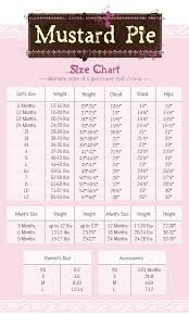 Persnickety Clothing Size Chart Mustard Pie Clothing Size Chart