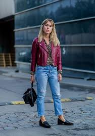 street style red leather jacket boyfriend jeans