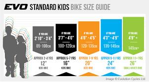 Girls Bike Sizing Chart Bike Size Chart By Height In Inches