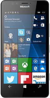 microsoft lumia 950. black lumia 950 facing forward with start screen on display microsoft