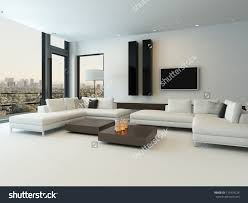 modern white living room furniture. Elegant White Modern Sofa For Living Room With Wooden Furniture Stock Photo A