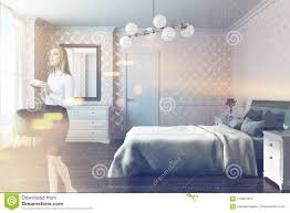 modern bed side view. Wonderful Side Modern Bedroom Interior With A White Pattern Walls Double Bed And  Green Armchair In The Corner A Mirror Side View Woman Throughout Bed Side View F