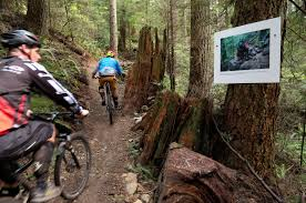 riders viewing a print of martin building the rock retaining wall holding up the corner in on downhill mountain bike wall art with turning a trail into an art gallery pinkbike