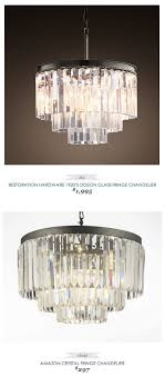 copycatchic restorationhardware 1920 s odeon glass fringe chandelier 1995 vs crystal