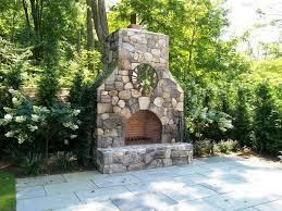 image of diy fieldstone outdoor fireplace