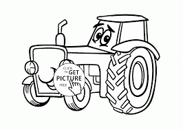 Small Picture Cute Cartoon Tractor coloring page for kids transportation
