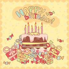 Happy Birthday Card With Cake Candles And Gifts Vector Image Of