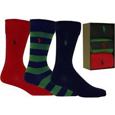 3 pack rugby stripe assorted socks gift set navy red green