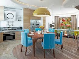 Modern Dining Room With Kitchen In A Trendy Style Kitsch Round