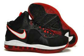 lebron 8 shoes. nike air max lebron viii black with red white shoes 8 b