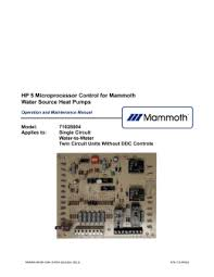 wiring diagrams hp 5 microprocessor control for mammoth water source heat pumps