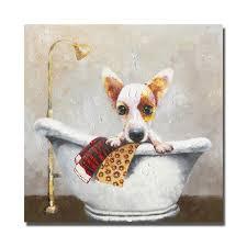 dog in bathtub wall art