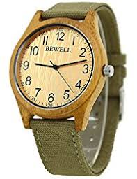 amazon co uk bewell watches bewell w124b wood watches wooden bezel canvas strap lightweight bamboo watch for mens light green canvas bamboo bezel