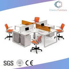 modern white computer desk round office workstation with partition cas w31469