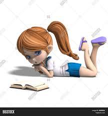 cute little cartoon reads a book