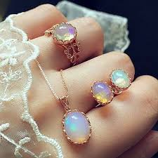 unique vintage opal jewelry sets for woman pendant necklaces water drop earrings ring
