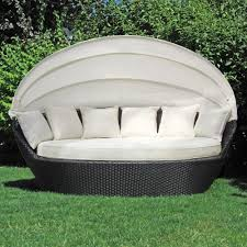 sonneninsel polyrattan garten lounge chill out sofa mit baldachin 200x120x140 cm